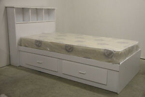 White Twin Size Single Mates Bed and Mattress **Brand New**