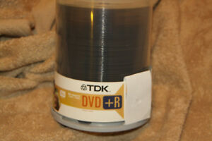 100 new DVD+R recordable DVDs ( TDK x 70 and Memorex x 30 )