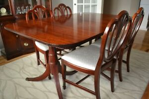Mahogany Dining Table, Chairs and Matching China Cabinet