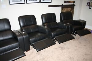 Leather theatre reclining chairs - like new
