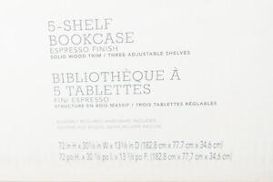 Espresso Five Shelf Bookshelf