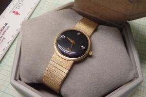 Mens solid 14k gold baume et mercier bracelet watch diamond dial