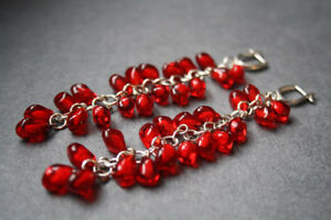 Lampwork pomegranate seeds earrings silver chain - $100