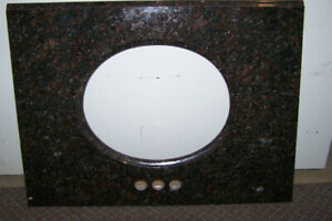 New Bathroom Granite Counter in Beautiful Browns and Undermount