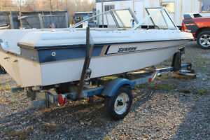 16 FOOT BOAT,GOOD BOW RIDER TRANSOM, SOLID CONDITION LONG SHAFT
