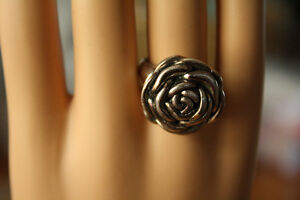 Beautifully detailed Rose Ring is cast in Solid Sterling Silver