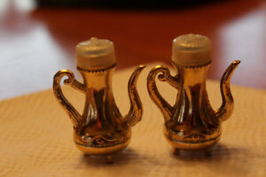 "Salt & Pepper Shakers Heavy Gold Metal 1.25"" High"