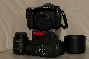 Pentax K10D dslr with 3 lenses