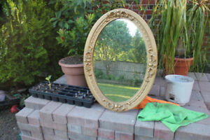 GOLD PAINTED SOLID WOOD WALL MIRROR