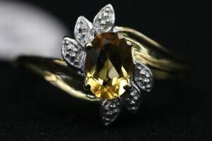 10K Yellow Gold Size 7 Ladies Ring w/ Yellow Stone (#9819)