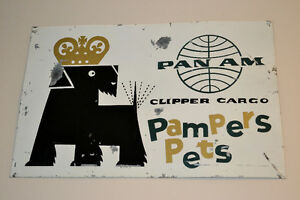 VINTAGE 50S PAN AM PET CARGO TIN SIGN - RARE ENSEIGNE METAL