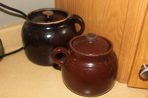 Antique Bean Crocks ( Kitchen Decor or Culinary Use )