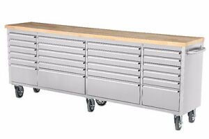 NEW 24 DRAWER STAINLESS STEEL 8FT tool bench @ BRYAN'S AUCTION !