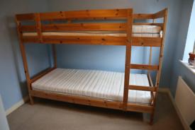 Ikea Mydal Bunk Bed including two Ikea Sultan foam mattresses