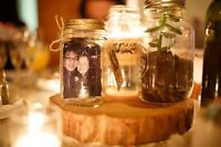 Wood slabs/slices & Mason Jars with Burlap - Rustic Centerpieces