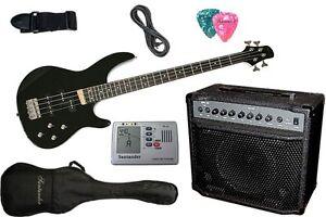 Santander E-Bass Set schwarz mit 40W Verstärker + Stimmgerät Tasche Kabel Gurt