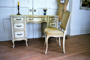 Antique Vintage French Vanity Desk and Chair