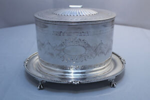 Victorian Silver Plated Biscuit Caddy Barrel Cookie Jar Tray