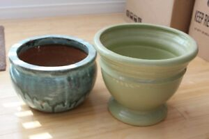 Two Green Ceramic Plant Pots