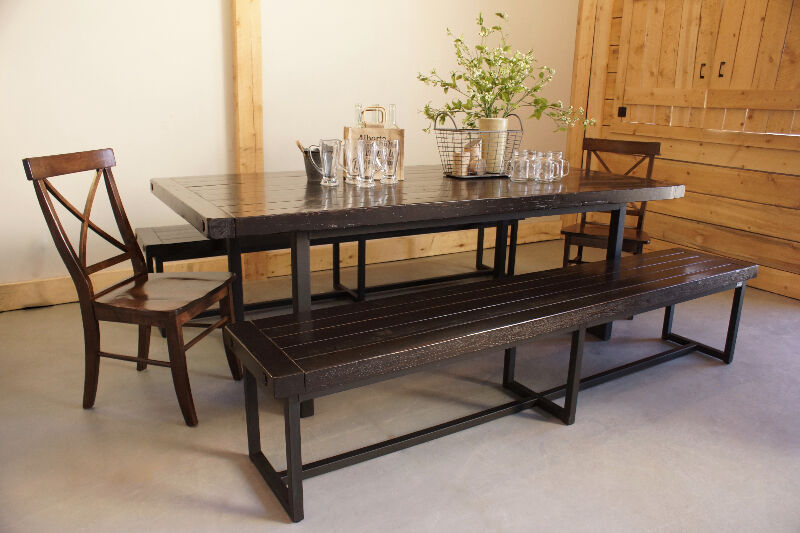 reclaimed wood iron dining table by liken woodworks