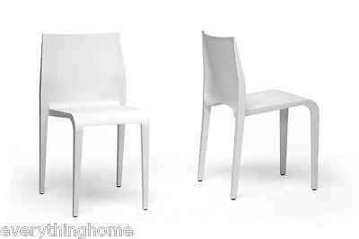 2 DINING CHAIRS MODERN WHITE RESIN OUTDOOR STACKING BISTRO CAFE PATIO DECK PORCH ()