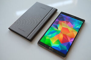 Samsung Tab S 8.4 - Folding Stand Cover, Glass Screen Protector