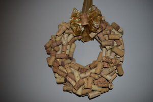 Wine cork wreath with gold ribbon