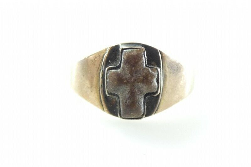 Antique Victorian? Vintage 8K Yellow Gold Fairy Cross Stone Ring Size 5.75 2.5g