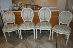 Set 4 - 2 His/2 Hers - Antique CHAIRS Floral Stripe Upholstery