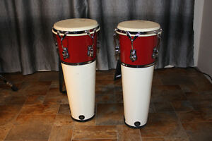 SONOR Street Congas fiberglass shells and natural heads