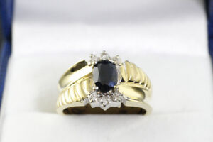 NEW STAMPED 14K. ITALIAN HEAVY GOLD BLUE SAPPHIRE & DIAMOND RING