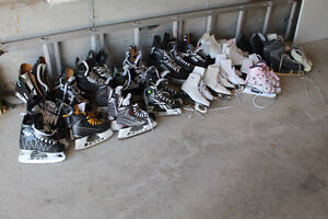 Skates - hockey & figure. lots of sizes available. free sharpen