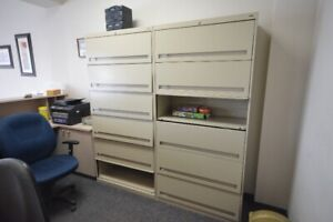 """36"""" Fixed Shelf (6-Tier) Lateral File Cabinet + Rectractable Dr"""
