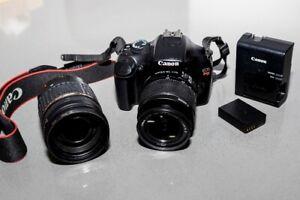 caméra Canon EOS REBEL T3 + 2 objectifs + 2 piles et Chargeur