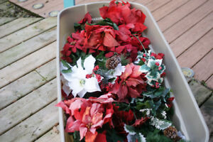 Bins full of Garland, Lighted Branches, Lighted Ribbon, + more
