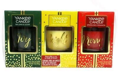 Yankee Candle Holiday Trio Set 7 oz Jars Christmas Cookie Cinnamon Balsam Cedar