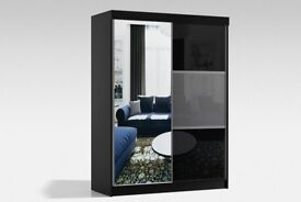 Brand New German Rumba Full Mirror 2 Door Sliding Wardrobe w/ Shelves, Hanging