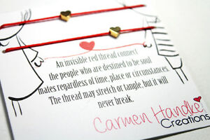 Love Bracelet, red string of fate, valentine, perfect gift, thre