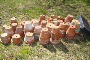 Large Assortment of Clay & Plastic Flower Pots