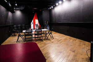 Black box room, wood floors event, artistic or rehearsal space