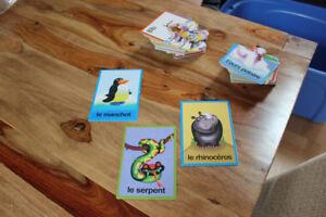Lot de cartes d'association x 2 paquets : animaux / lettres