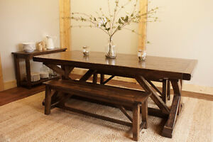 Reclaimed Solid Wood Trestle Dining Table. By LIKEN Woodworks