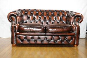 100% Leather Chesterfield Sofa Set | six months used