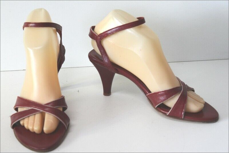 Melin escarpins sandales vintage  tout cuir rouge hermès t 37.5 tbe