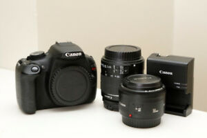 Canon T5 with image stabilizing kit lens and camera bag