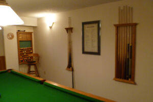 Solid Oak 4 1/2 x 9 foot slate Pool table