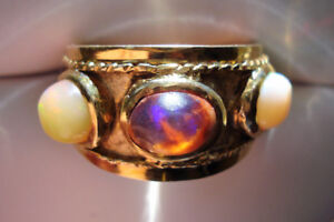 Vintage Estate Solid 14k Yellow Gold 3 Mexican Fire Opal Band Ri