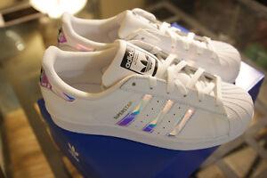 Adids superstars holographic stripes