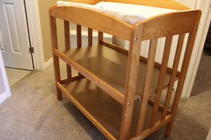 Maple Crib (3 way convertible) and matching change table