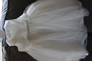 Flower Girl Dress with Tulle and Ribbon Waist Ivory Girls Size 4